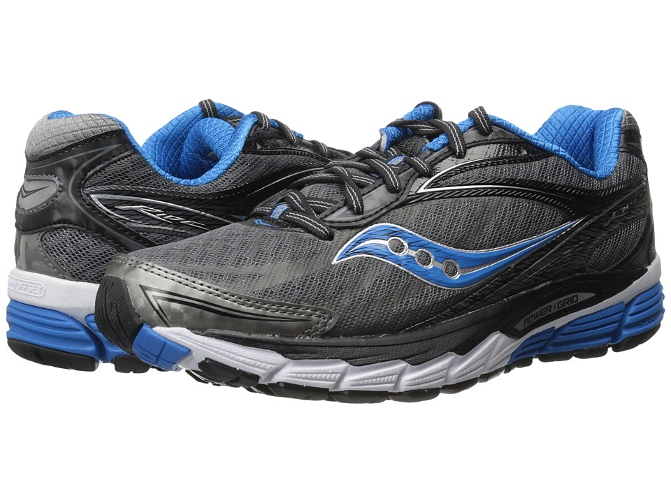 Saucony - Ride 8 (Grey/Black/Blue) Men's Running Shoes