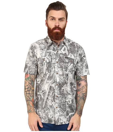 Volcom - Polly S/S (Dark Grey) Men's Short Sleeve Button Up