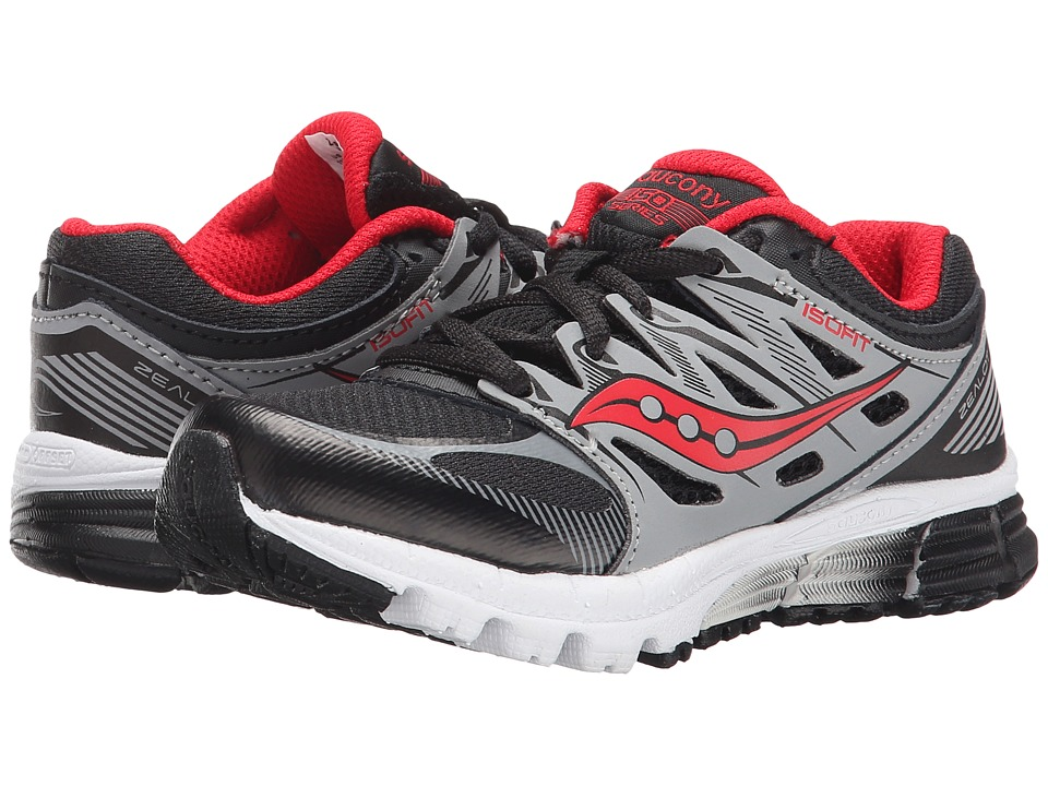 Saucony Kids - Zealot (Little Kid) (Black/Red/Silver) Boys Shoes