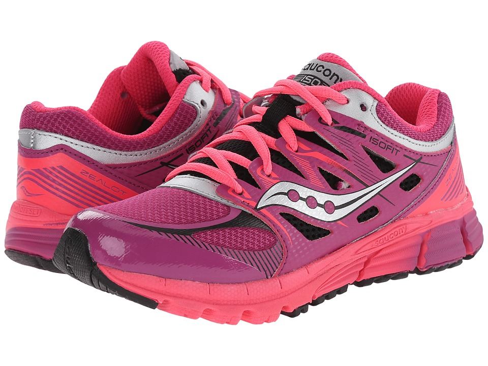 Saucony Kids - Zealot (Little Kid) (Magenta/Black Leather/Mesh Coral) Girls Shoes