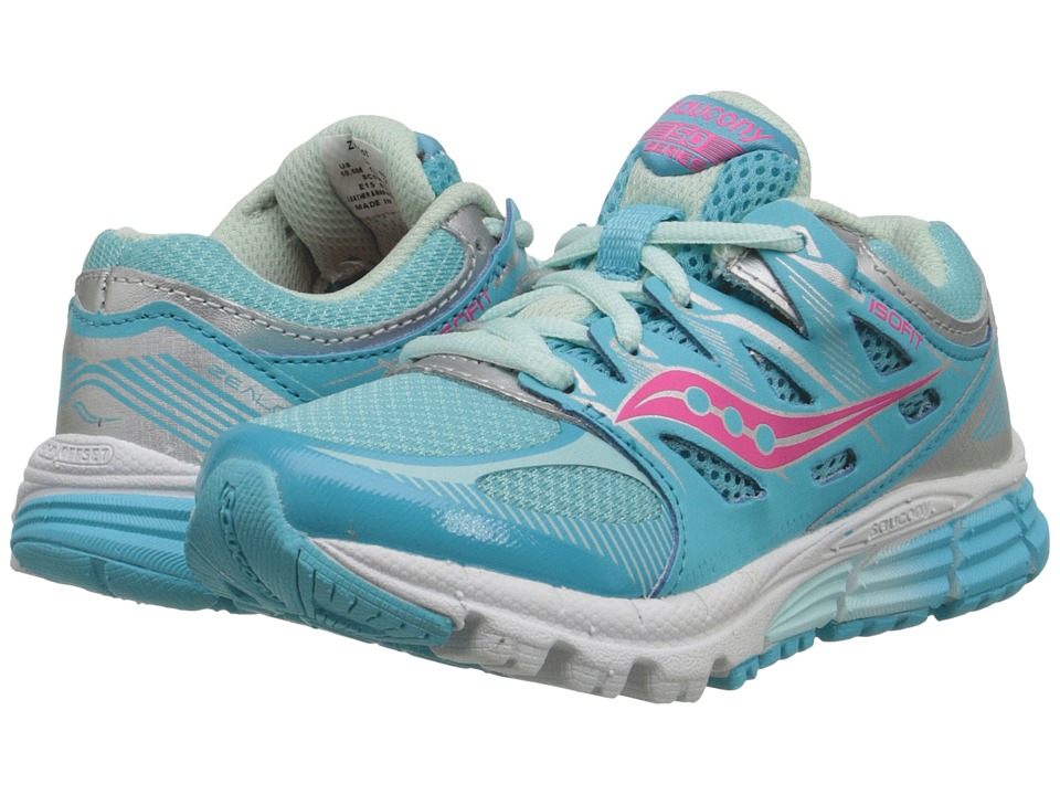 Saucony Kids Zealot (Little Kid) (Turquoise/Silver/Vizi Coral) Girls Shoes