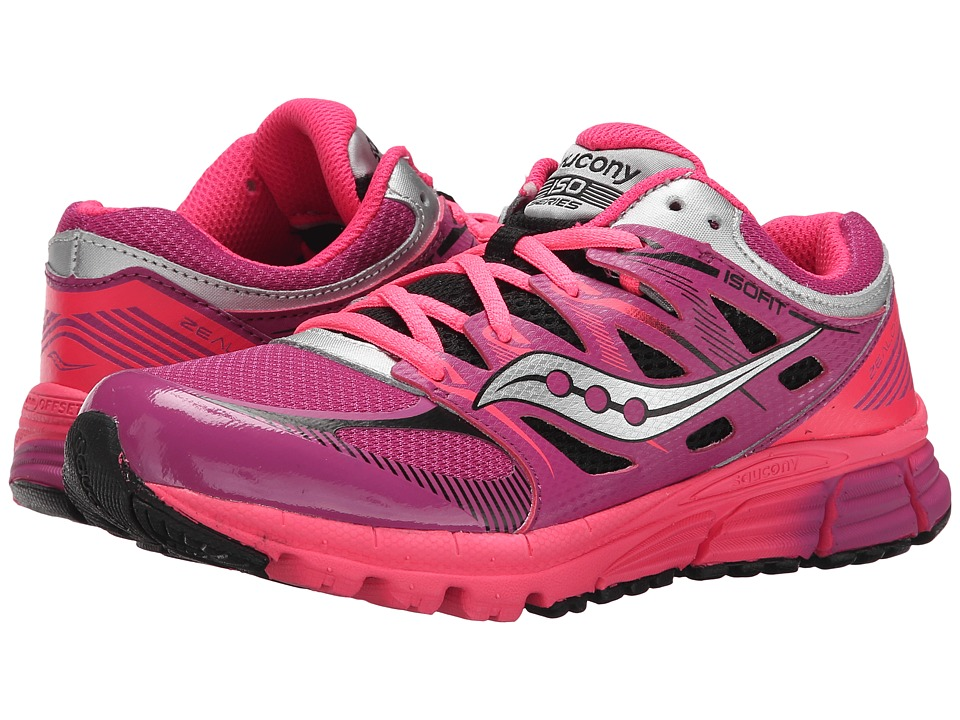 Saucony Kids - Zealot (Big Kid) (Magenta/Black Leather/Mesh Coral) Girls Shoes