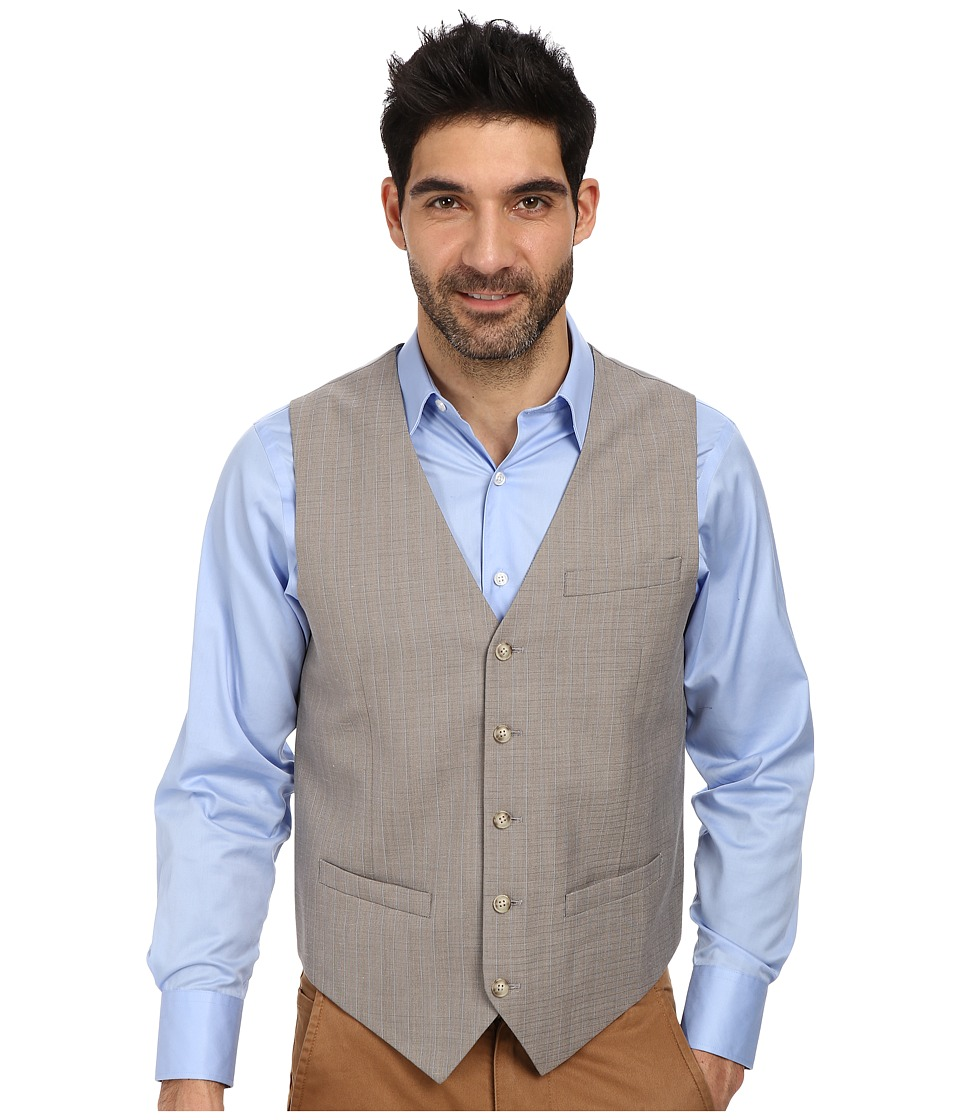 Perry Ellis - Slim Fit Travel Luxe Stripe Suit Vest (Alloy) Men's Vest