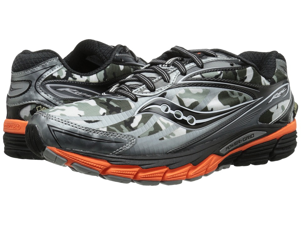 Saucony - Ride 8 GTX (White/Black/Orange) Men's Running Shoes
