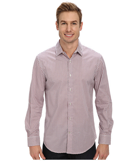 Perry Ellis - Long Sleeve Printed Cube Shirt (Bright White) Men