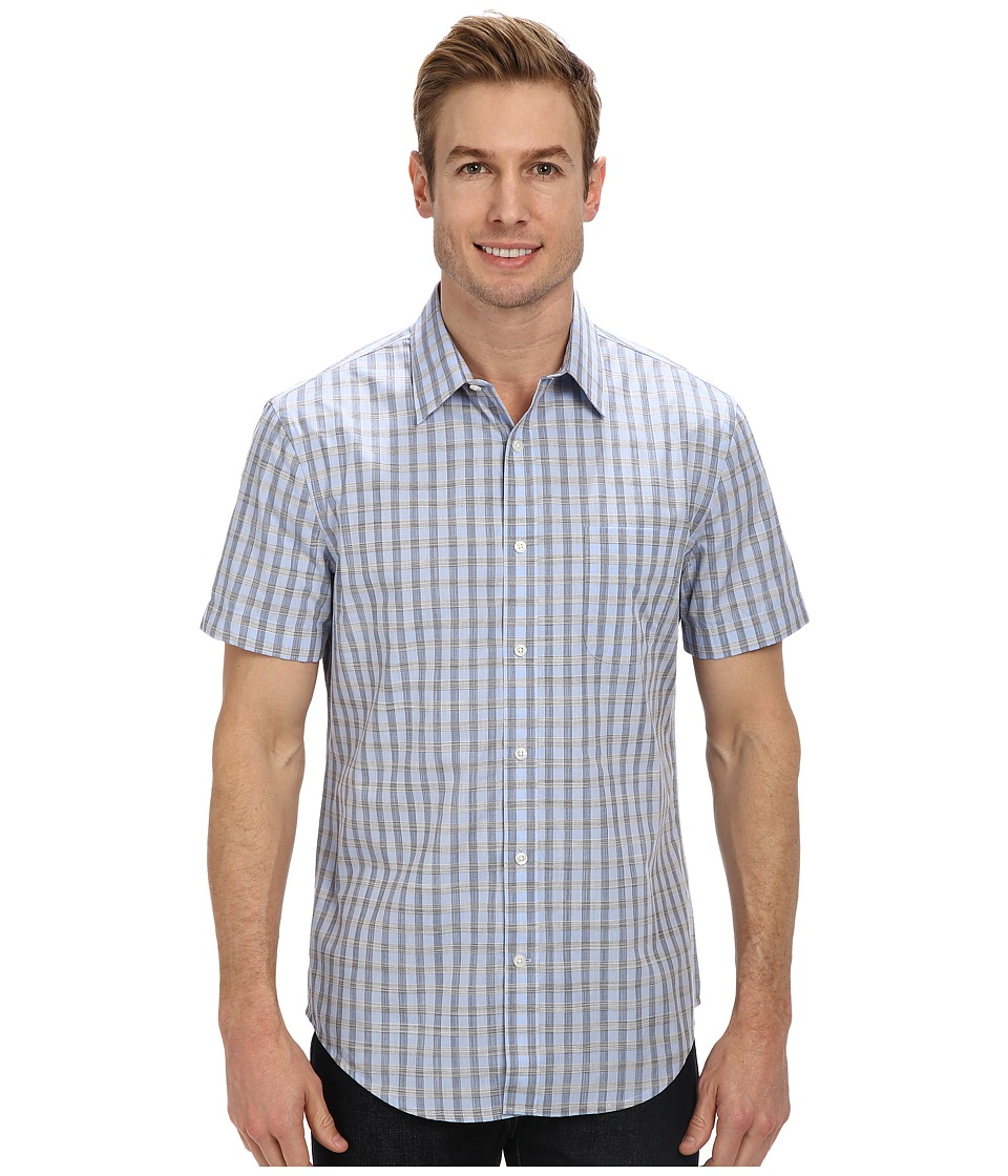 Perry Ellis - Short Sleeve Check Pattern Shirt (Kentucky Blue) Men's Short Sleeve Button Up