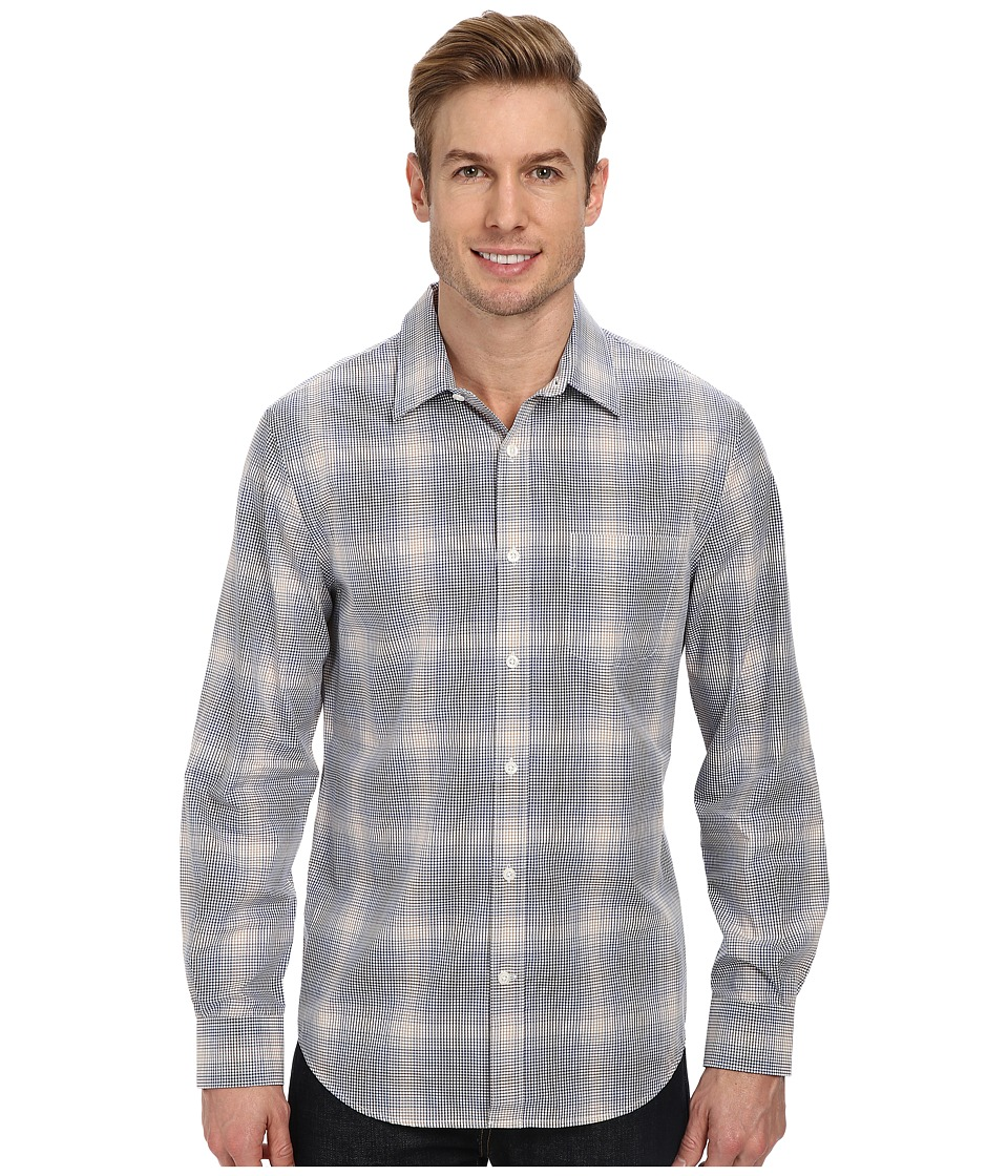 Perry Ellis - Long Sleeve Plaid Check Shirt (Sodalite Blue) Men