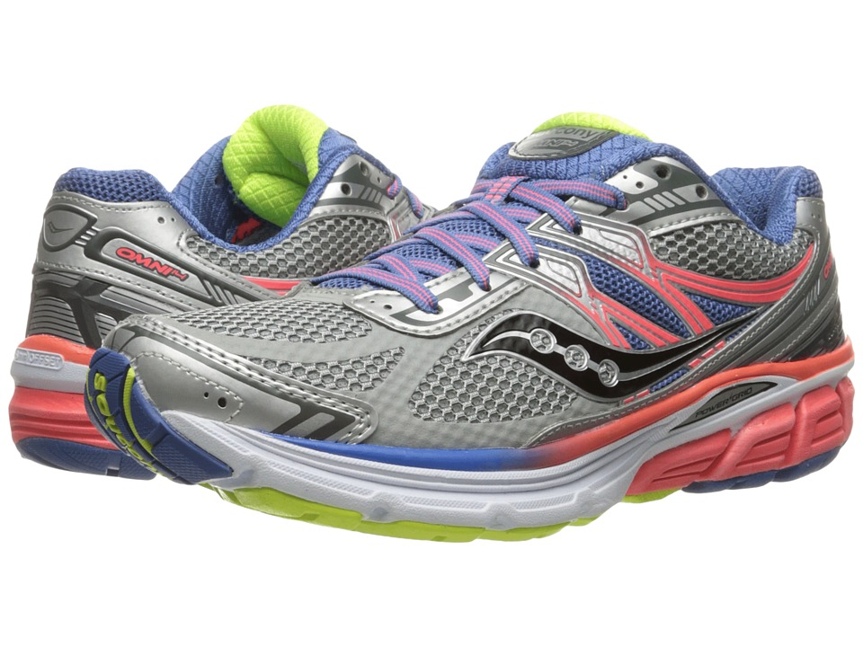 Saucony - Omni 14 (Silver/Blue/Coral) Women's Running Shoes
