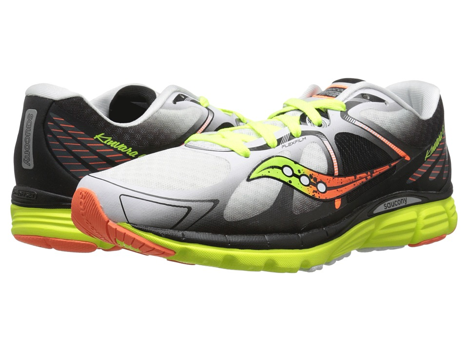 Saucony - Kinvara 6 (White/Citron/Orange) Men's Running Shoes