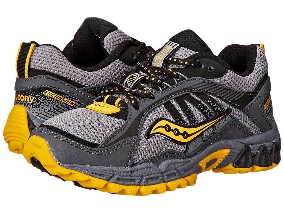 Saucony Kids Excursion (Little Kid/Big Kid) (Grey/Black/Yellow) Boys Shoes