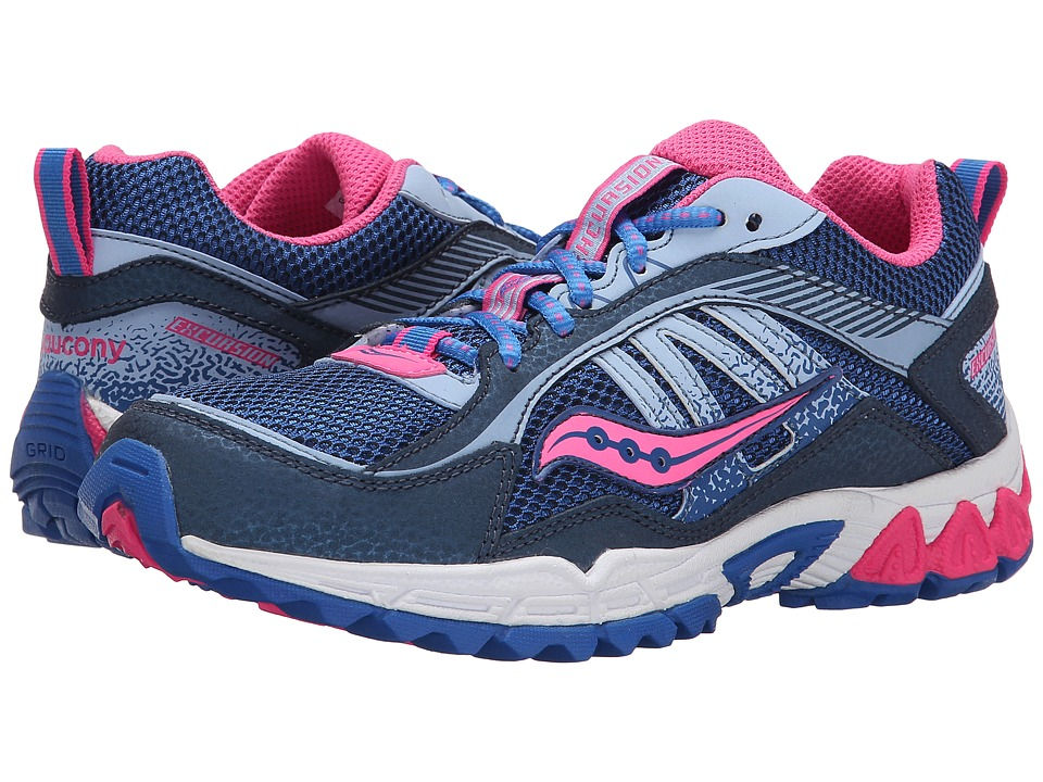 Saucony Kids - Excursion (Little Kid/Big Kid) (Navy/Blue/Pink) Girls Shoes