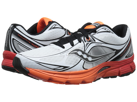 Saucony - Mirage 5 (White/Orange/Red) Men's Running Shoes