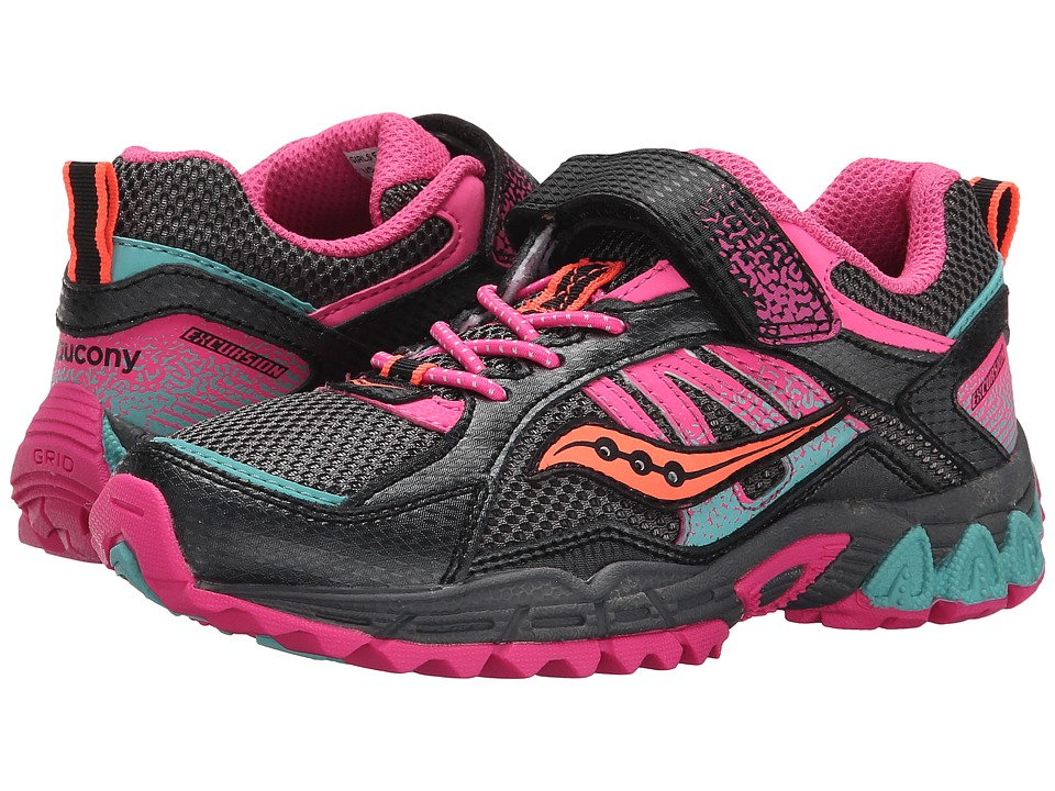 Saucony Kids - Excursion A/C (Little Kid) (Black/Pink/Turquoise) Girls Shoes