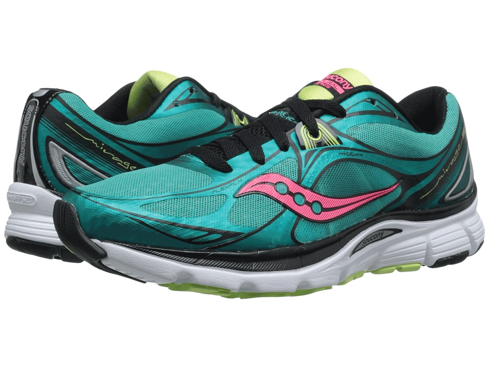 Saucony - Mirage 5 (Green/Coral) Women's Running Shoes
