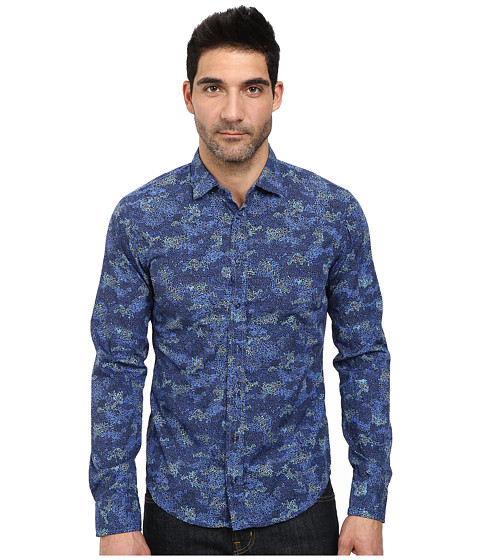 BOSS Orange - Extreme Slim Fit Long Sleeve Shirt in Camu-Flower Print (Dark Blue) Men's Long Sleeve Pullover