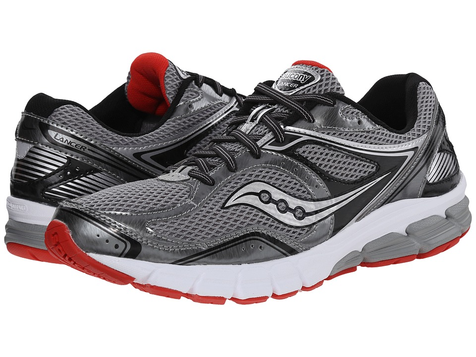 Saucony - Lancer (Grey/Black/Red) Men's Running Shoes