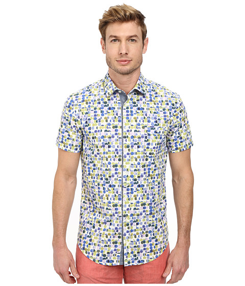 BOSS Orange - Eslimye Sim Fit Short Sleeve Shirt in All Over Dot Print (Bright Green) Men