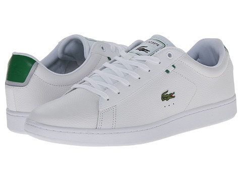 Lacoste - Carnaby Evo HTB (White/Green) Men's Shoes