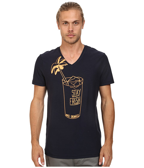BOSS Orange - Twig 4 Fashion Fit Slub Yarn Jersey Graphic Tee (Dark Blue) Men's T Shirt