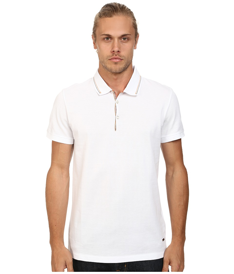 BOSS Orange - Pejo 1 Regular Fit Fine Sport Piquet Polo (White) Men's Short Sleeve Pullover