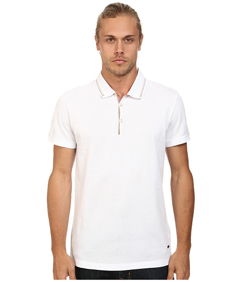 BOSS Orange - Pejo 1 Regular Fit Fine Sport Piquet Polo (White) Men