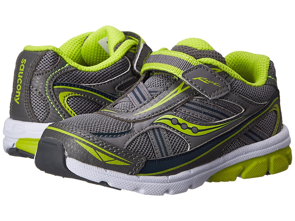 Saucony Kids Ride (Toddler/Little Kid) (Grey/Lime) Boys Shoes