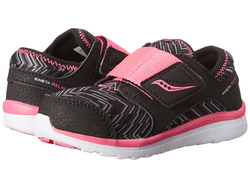 Saucony Kids - Kineta A/C (Toddler) (Black/Silver/Herringbone) Girls Shoes