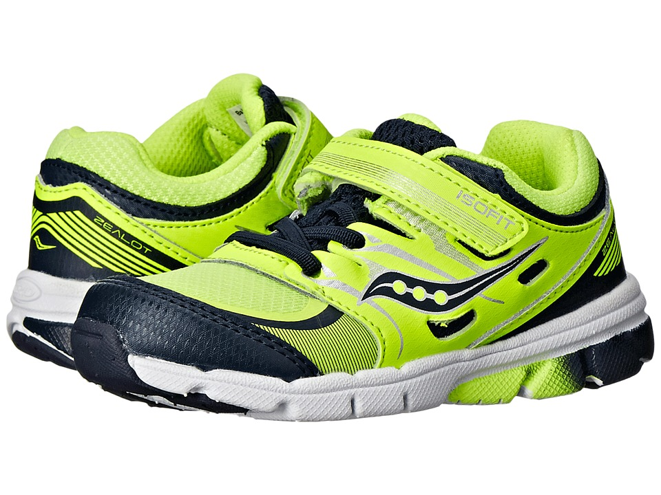 Saucony Kids - Zealot (Toddler/Little Kid) (Citron/Navy) Boys Shoes