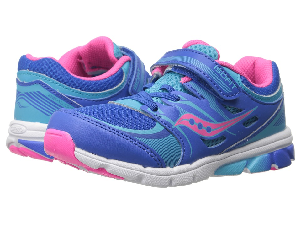 Saucony Kids - Zealot (Toddler/Little Kid) (Blue/Pink) Girls Shoes