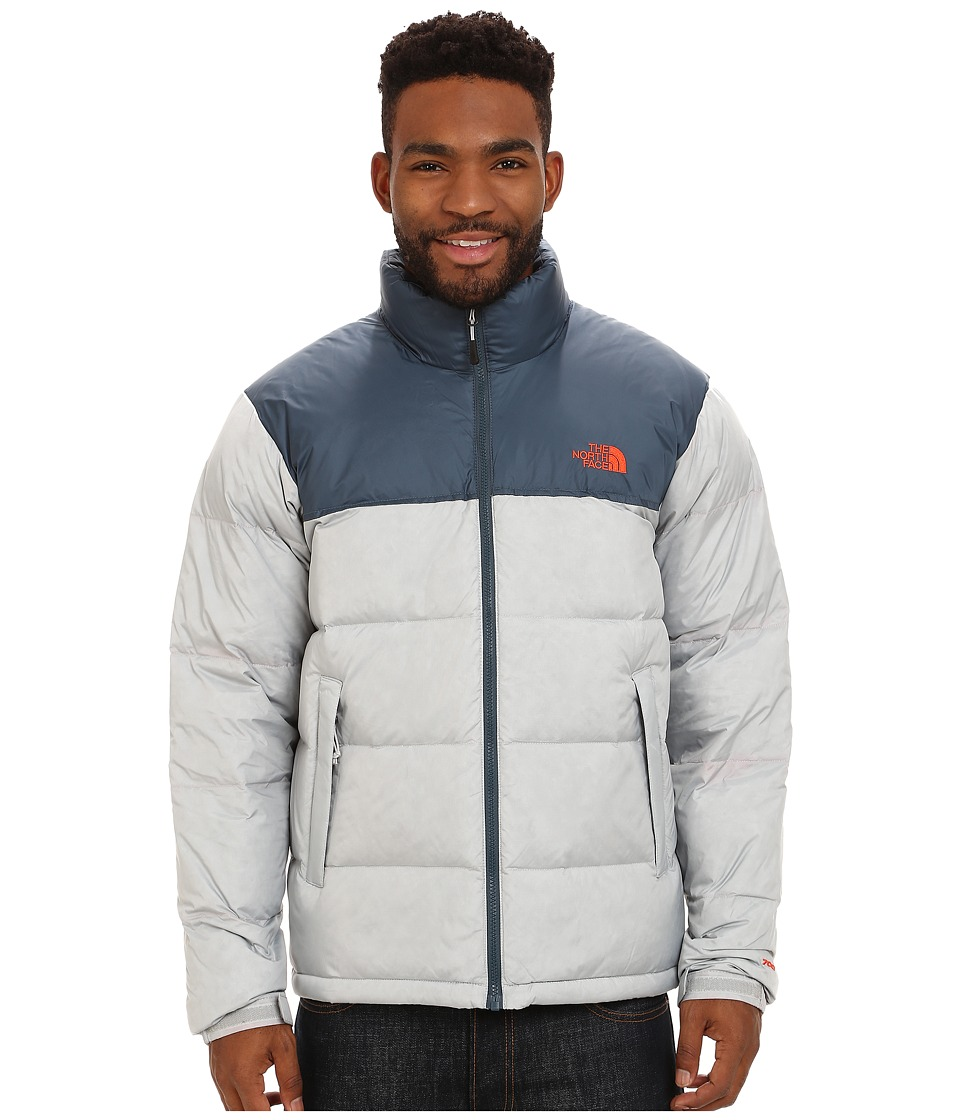 The North Face - Nuptse Jacket (High Rise Grey Heather/Conquer Blue) Men's Coat