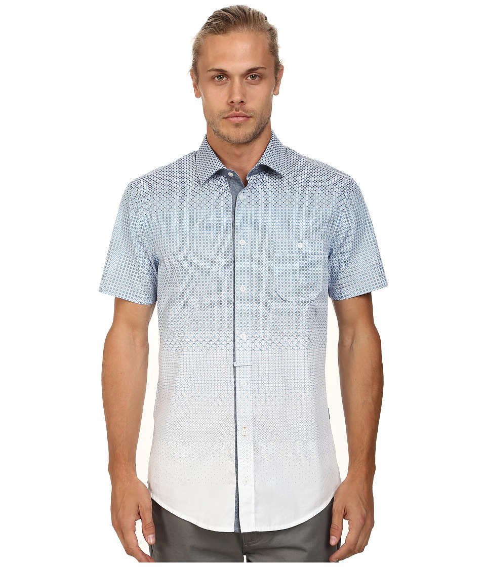 BOSS Orange - Eslimye Slim Fit Short Sleeve Shirt in Degrade Print (Medium Blue) Men's Long Sleeve Button Up