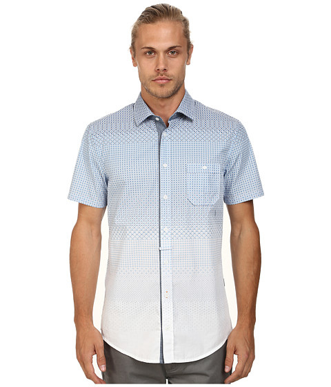 BOSS Orange - Eslimye Slim Fit Short Sleeve Shirt in Degrade Print (Medium Blue) Men
