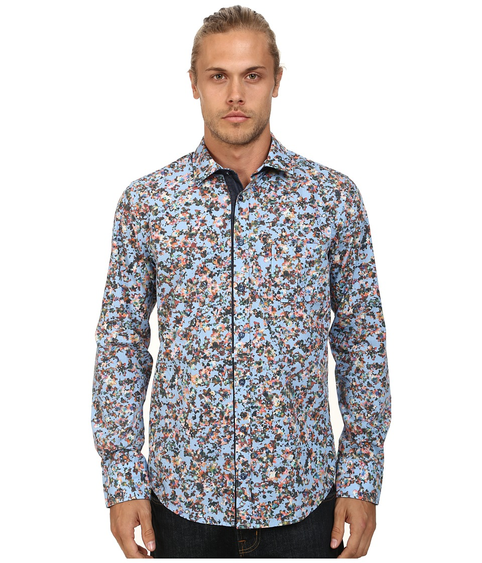 BOSS Orange - Eslime Slim Fit Long Sleeve Shirt in Ink-Jet Print (Light/Pastel Blue) Men's Long Sleeve Button Up
