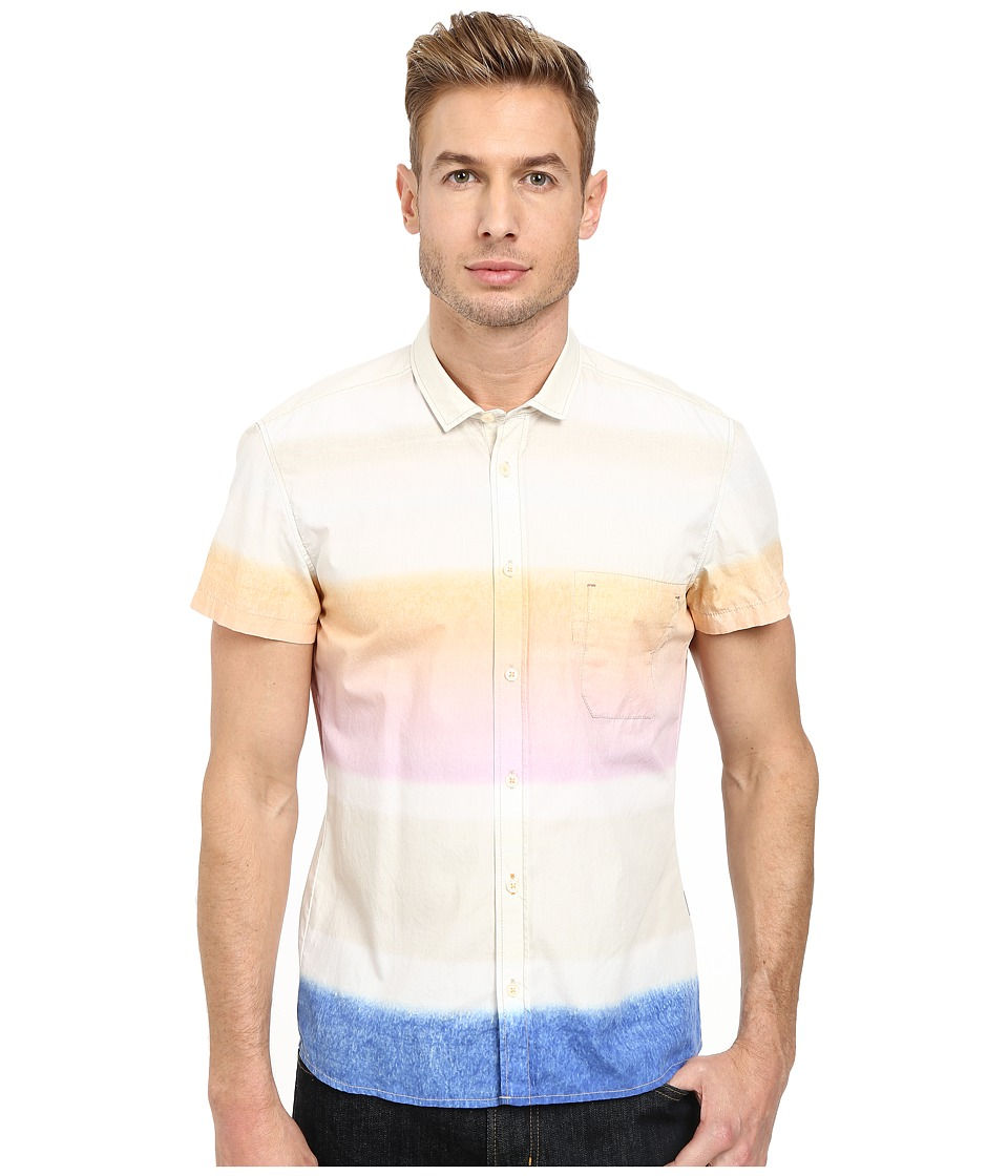 BOSS Orange - Ezippoe 1 Regular Fit Short Sleeve Shirt in Barre Faded Print (Light/Pastel Orange) Men's Short Sleeve Pullover