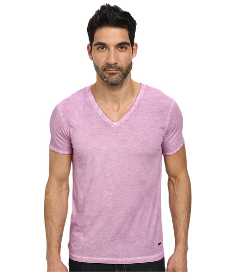 BOSS Orange - Toulouse Fashion Fit Garment Dyed Jersey V-Neck Tee (Bright Purple) Men