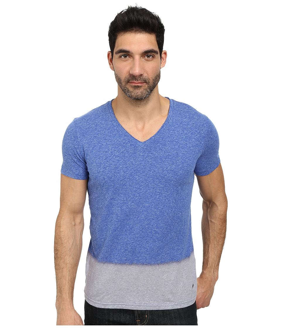 BOSS Orange - Tetumo Regular Fit Dip Bleached Heather Jersey V-Neck Tee (Medium Blue) Men