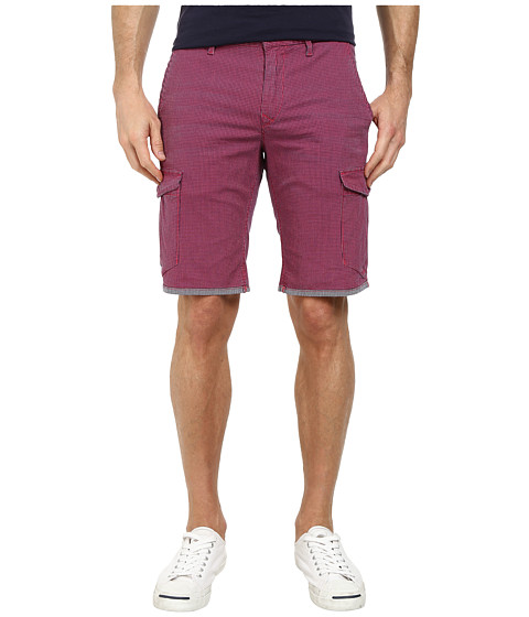 BOSS Orange - Schwinn3-W Regular Fit Printed Stone Wash Classic Check Shorts (Medium Pink) Men