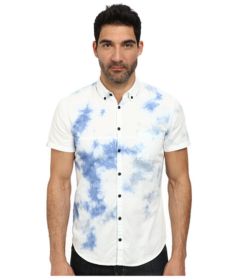 BOSS Orange - Erollese Slim Fit Short Sleeve Shirt w/ Button Down Collar in Batik Wash (White) Men