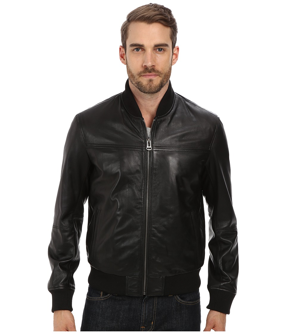 Cole Haan - Varsity Jacket with Banded Bottom (Black) Men's Coat