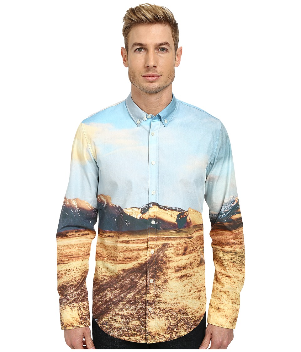 BOSS Orange - Edipoe Slim Fit Long Sleeve Shirt w/ Button Down Collar in All Over Digital Print (White) Men