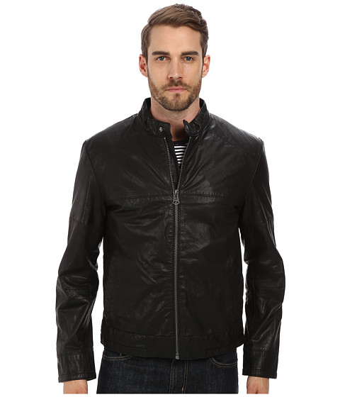 Cole Haan - Moto Jacket with Articulated Sleeves (Black) Men's Coat