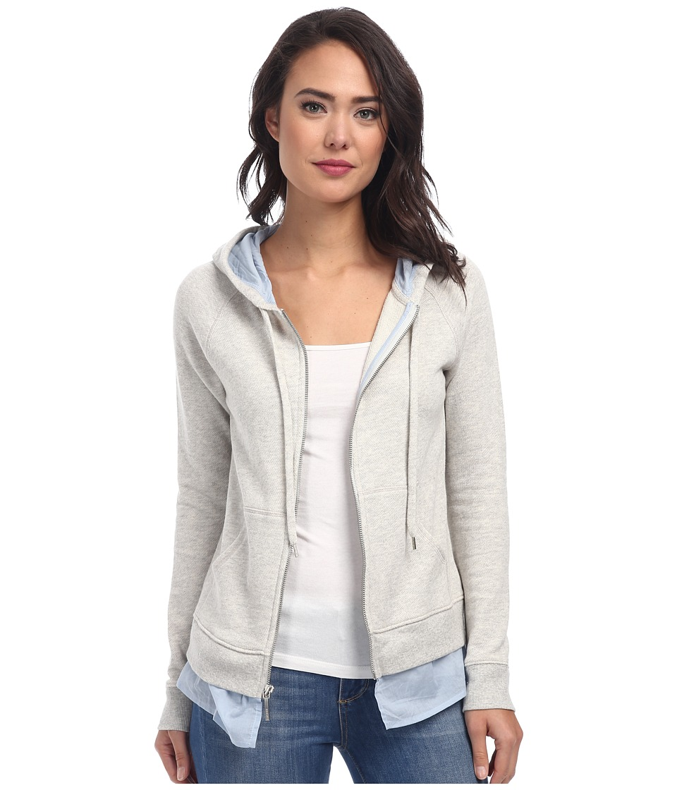 DKNY Jeans - Mixed Media Zip Hoodie (Smoke Grey Heather) Women's Sweatshirt