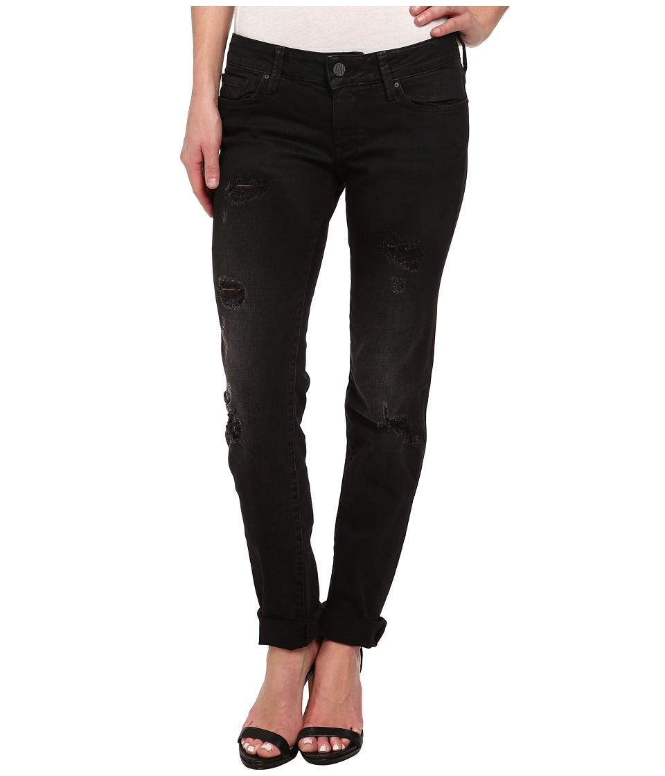 Mavi Jeans - Emma Slim Boyfriend in Ripped Black Coated (Ripped Black Coated) Women