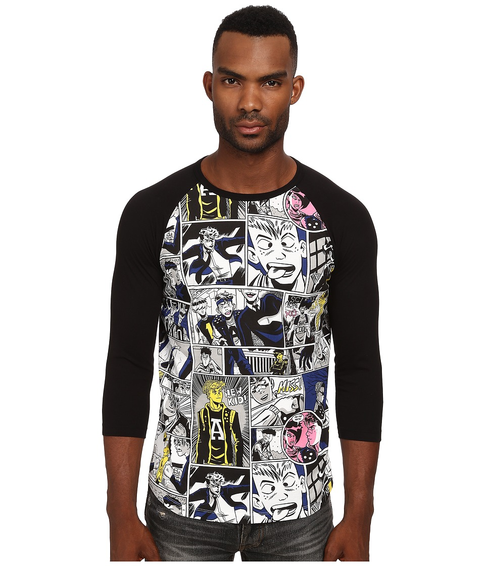 Marc by Marc Jacobs - Comic Print Repeat Jersey 3/4 Sleeve (Black Multi) Men's Clothing