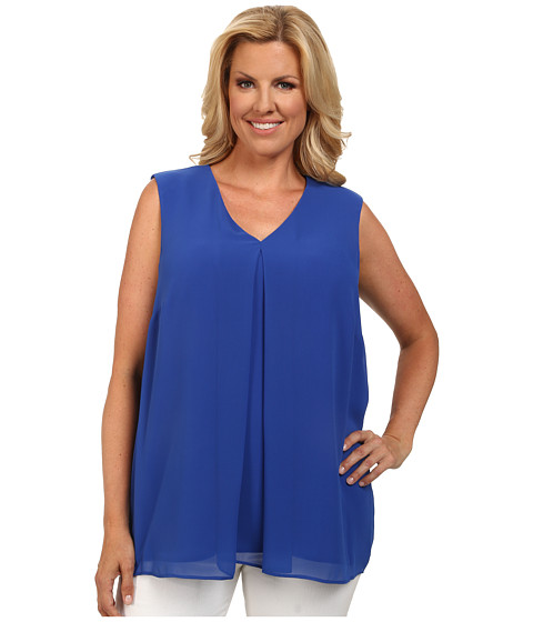 Calvin Klein Plus - Plus Size Sleeveless V-Neck Chiffon Top (Regatta) Women