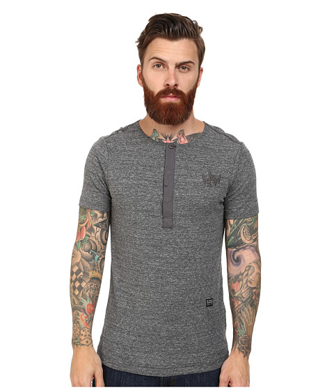 G-Star - Matmini Granddad Round Neck Short Sleeve T-Shirt (Raw Grey Heather) Men's Short Sleeve Pullover