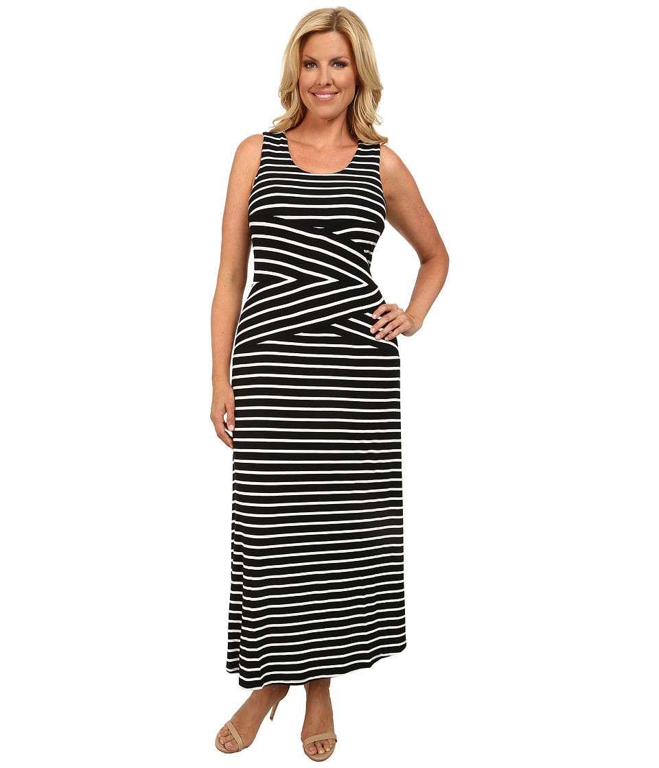 Calvin Klein Plus - Plus Size Maxi Stripe Dress (Black Combo) Women's Dress