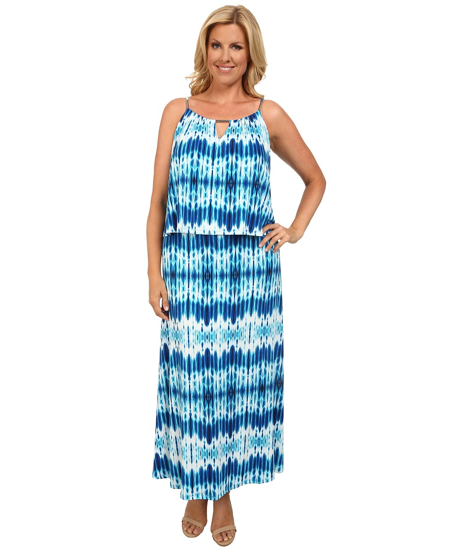 Calvin Klein Plus - Plus Size Print Double Layer Maxi (Adriatic Blue Multi) Women's Dress plus size,  plus size fashion plus size appare
