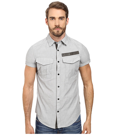 G-Star - Rovic Tape Short Sleeve Shirt (Raw Grey) Men's Clothing
