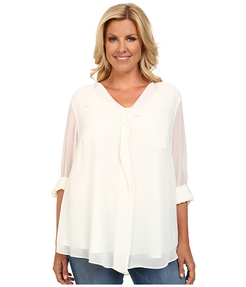 Calvin Klein Plus - Plus Size Long Sleeve Ruffle Front Top (Soft White) Women's Blouse